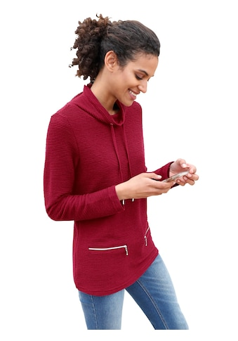 Casual Looks Sweatshirt mit silberfarbigen Ösen und Bindeband kaufen