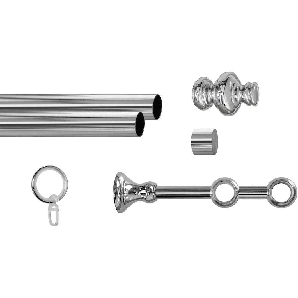 GARESA Gardinenstange »Andrea Profil groß«, 2 läufig-läufig, Wunschmaßlänge, inkl. je10 cm einen Ring + FH, Träger, Endknöpfe