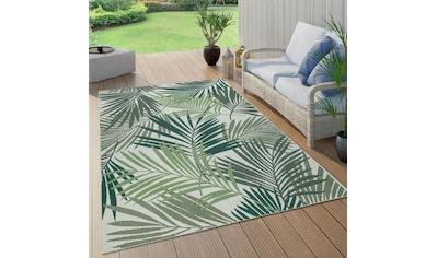 Paco Home Teppich »Ostende 534«, rund, 2 mm Höhe, Flachgewebe, Motiv Palmenblätter,... kaufen