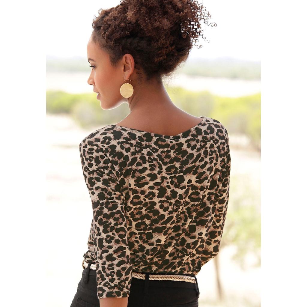 LASCANA 3/4-Arm-Shirt, mit Animalprint