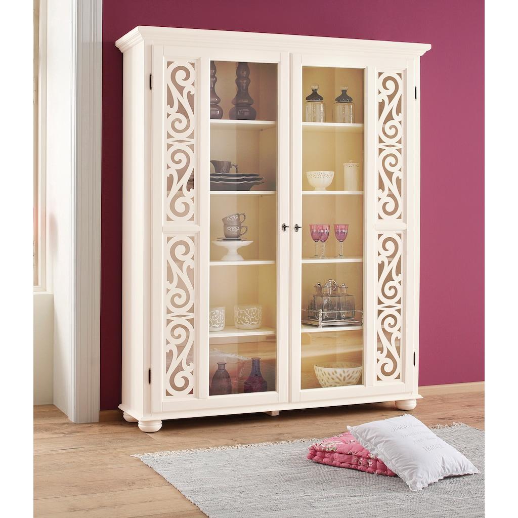 Home affaire Vitrine »Arabeske«, mit schönen dekorativen Fräsungen auf den Türfronten, Höhe 190 cm