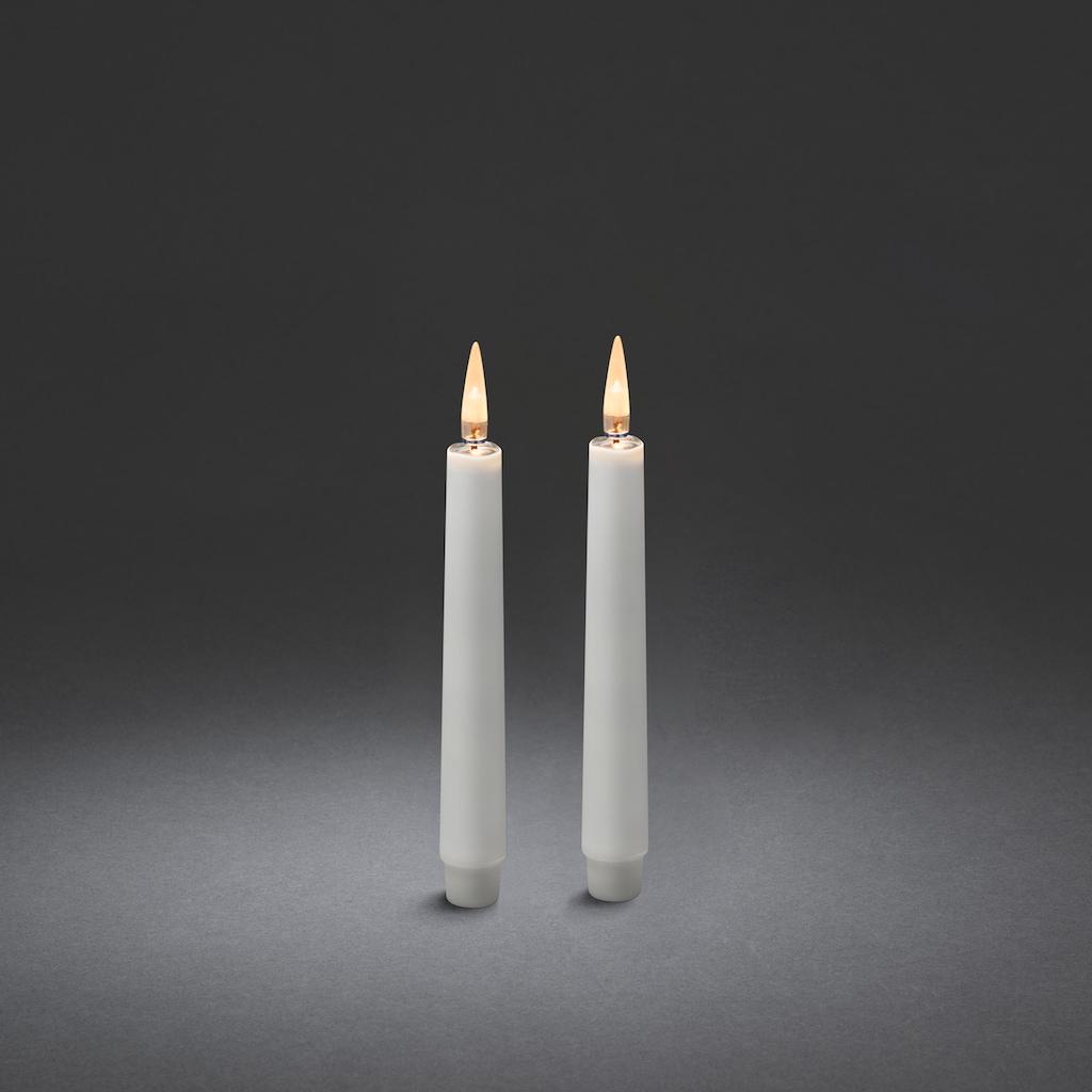 KONSTSMIDE LED Dekolicht, Warmweiß, Kerzen, 2er-Set, weiß
