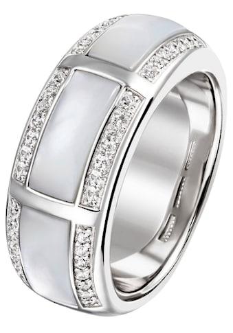 JOBO Fingerring, 925 Silber mit Perlmutt und 42 Zirkonia kaufen