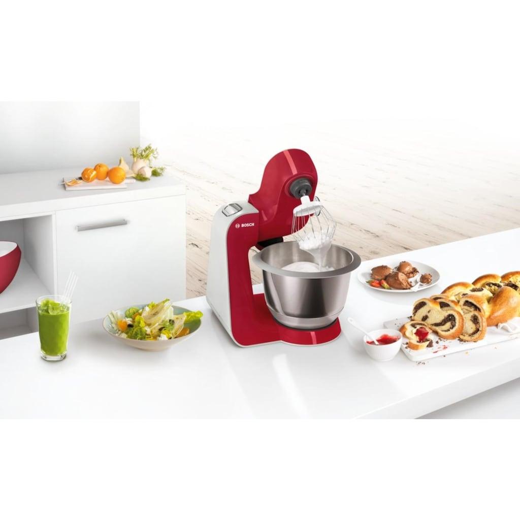 BOSCH Küchenmaschine »MUM5 CreationLine MUM58720«, 1000 W, 3,9 l Schüssel, vielseitig einsetzbar, Durchlaufschnitzler, 3 Reibescheiben, Mixer, deep red/silber