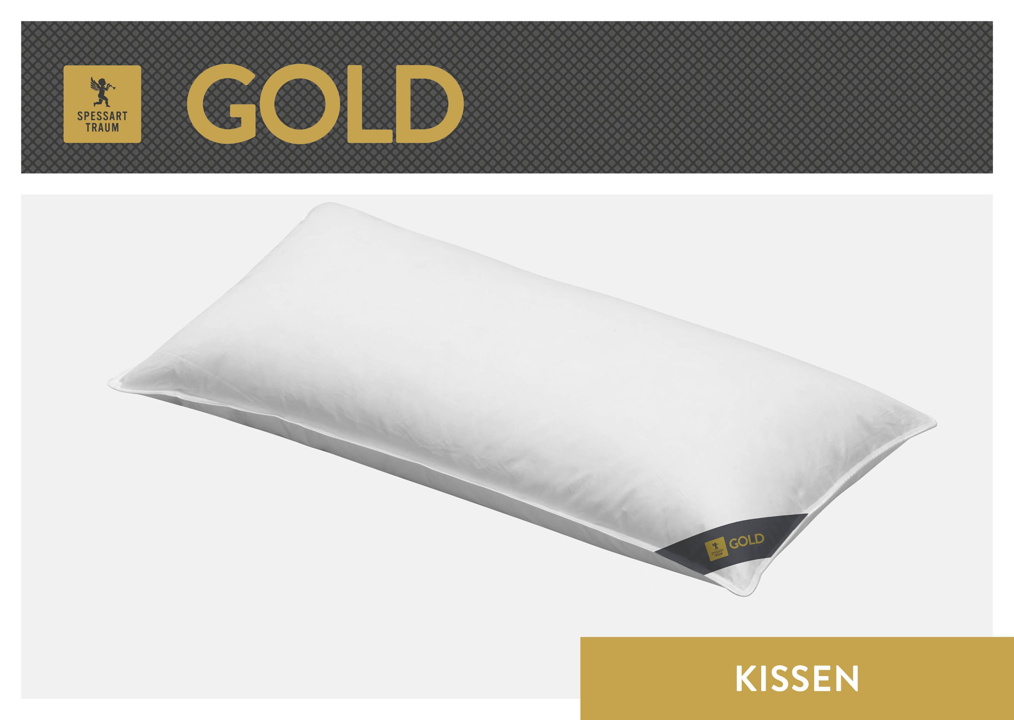Daunenkissen Gold SPESSARTTRAUM Füllung: 30% Gänsedaunen 70% Gänsefedern Bezug: 100% Baumwolle