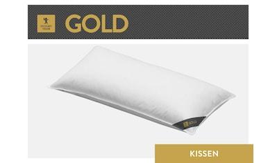 SPESSARTTRAUM 3-Kammer-Kopfkissen »Gold«, Füllung: Außen: 90% Gänsedaunen, 10% Gänsefedern Innen: 100% Gänsefedern, Bezug: 100% Baumwolle, (1 St.), hergestellt in Deutschland, allergikerfreundlich kaufen