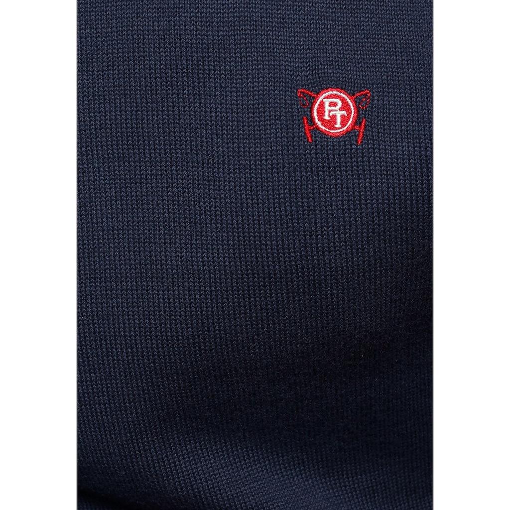 TOM TAILOR Polo Team Rundhalspullover, mit großer Rücken- Logostickerei
