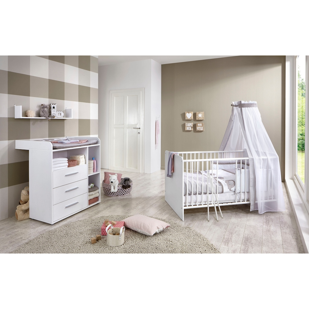 BMG Babymöbel-Set »Luis«, (Set, 3 St.), Bett + Wickelkommode + Wandboard