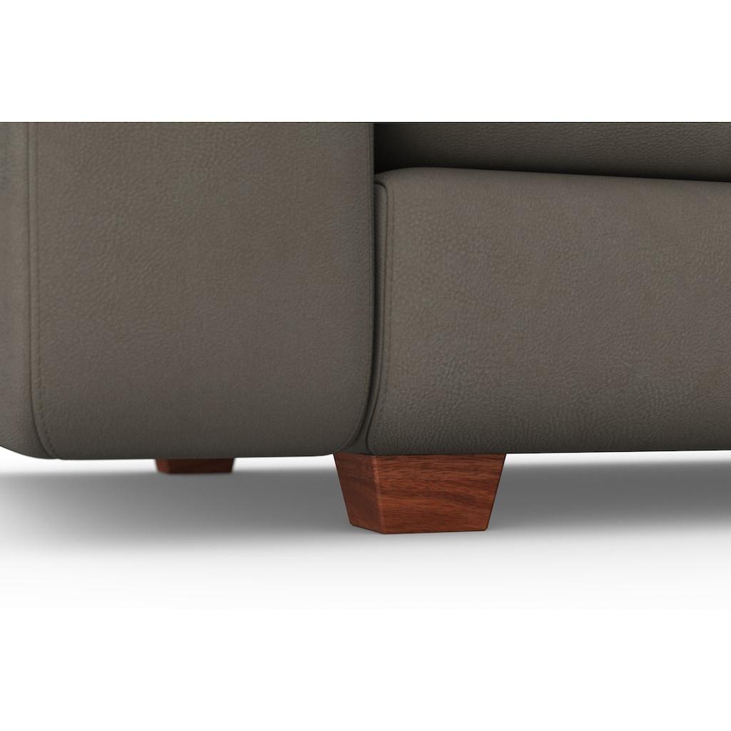 machalke® 4-Sitzer »valentino«, mit breiten Armlehnen, Füße Walnuss, Breite 266 cm, mit GRATIS Ledertasche