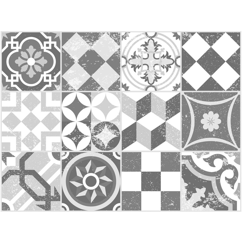 Contento Platzset »Mosaik, grau«, (Set, 4 St.), für innen und außen geeignet, wasserabweisend