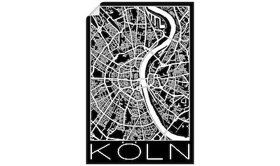 Artland Wandbild »Retro Karte Köln Deutschland Schwarz«, Deutschland, (1 St.), in... kaufen