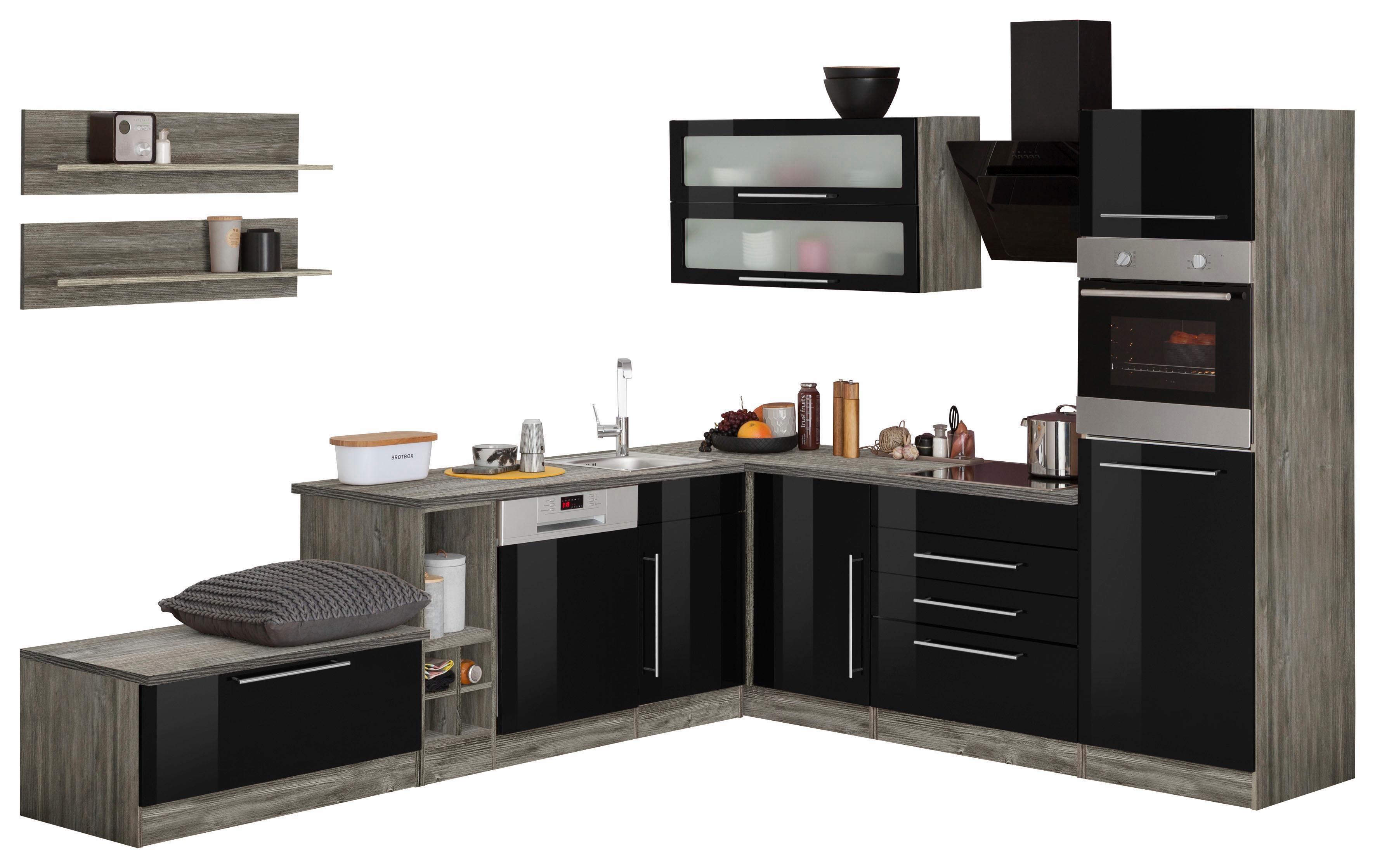 HELD MÖBEL Winkelküche ohne E-Geräte »Samos«, Breite 300/250 cm | Küche und Esszimmer > Küchen > Winkelküchen | Schwarz | Hochglanz - Edelstahl - Spanplatte | HELD MÖBEL