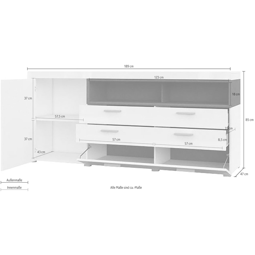 TRENDMANUFAKTUR Sideboard »Cara«, Breite 189 cm