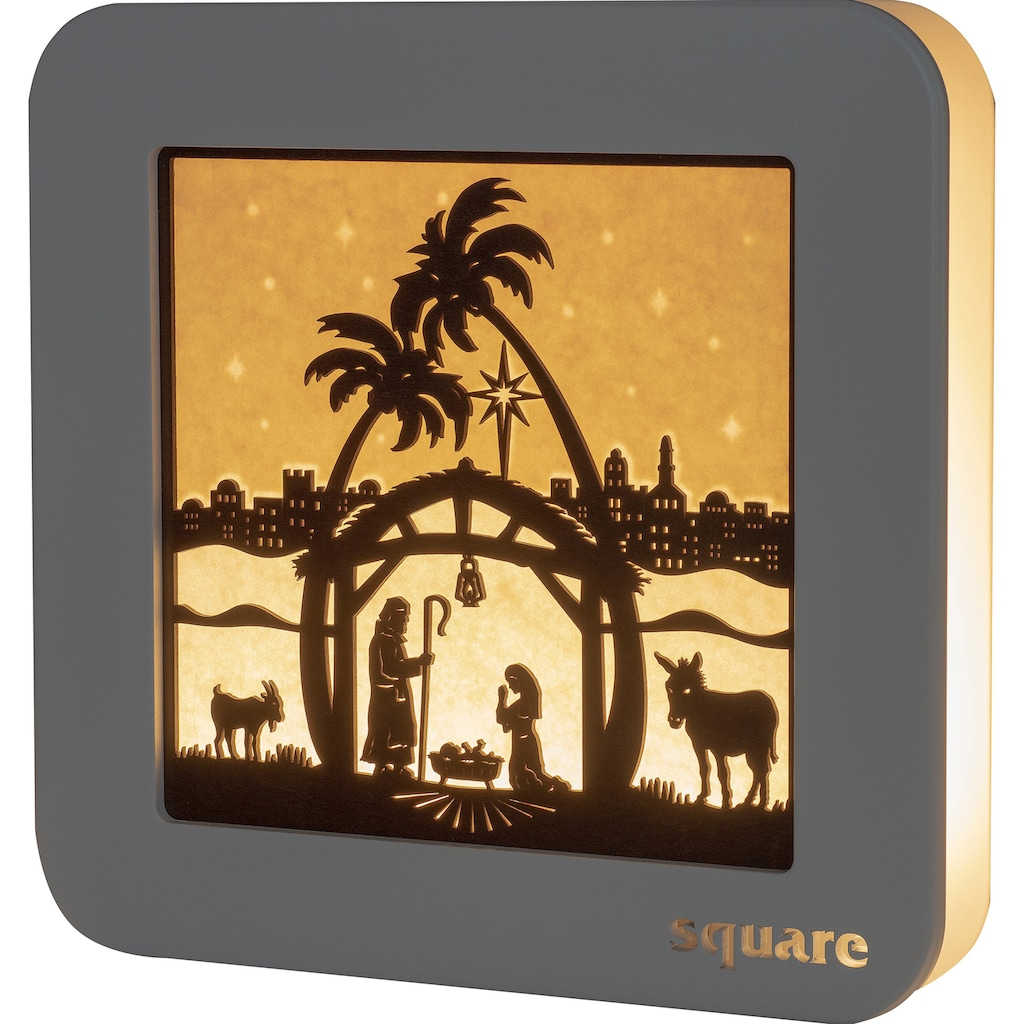 Weigla LED-Bild »Square - Standbild Christi Geburt«, (1 St.), mit Timer