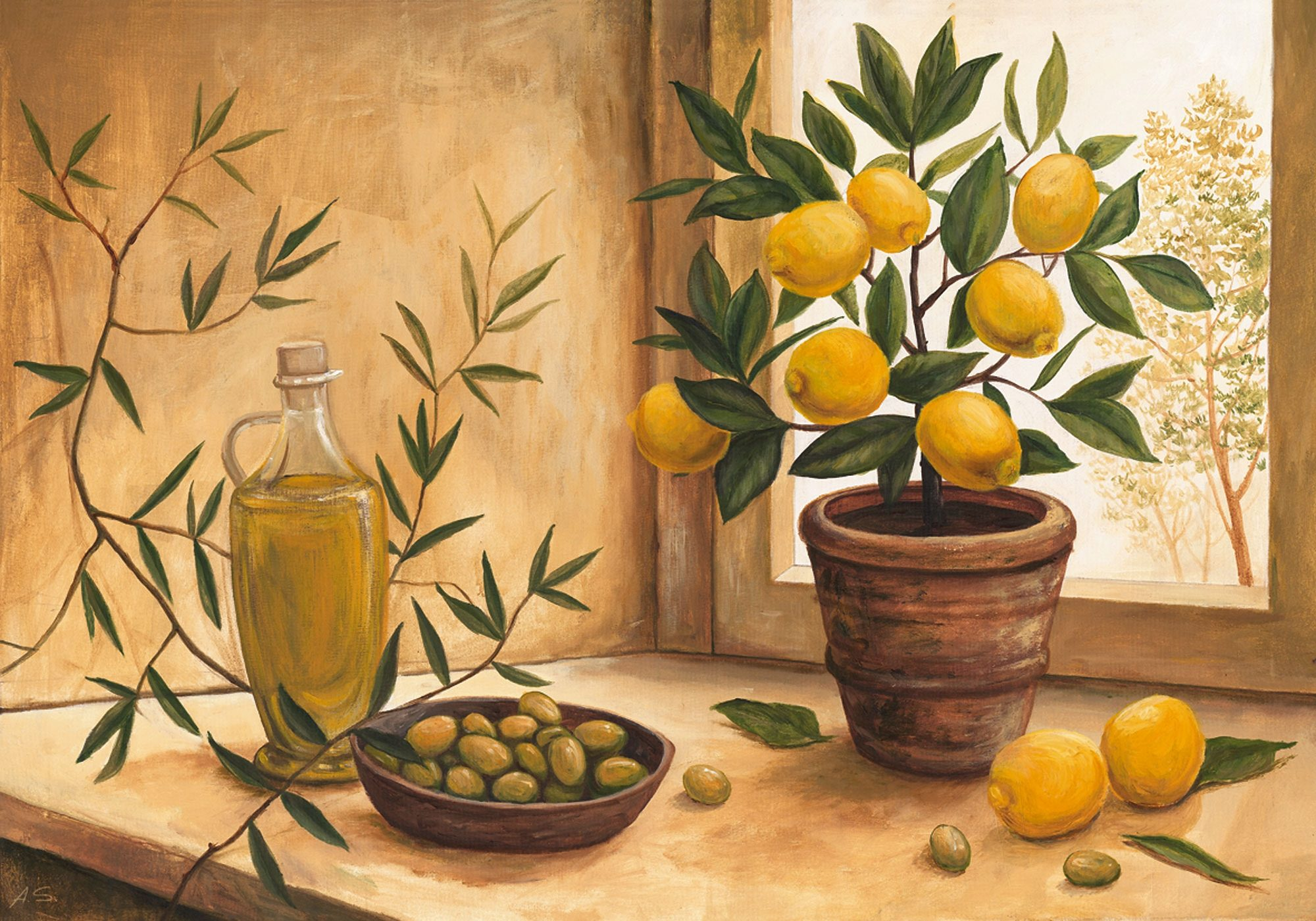 Home affaire Kunstdruck »A. S.: Olive and lime«   Dekoration > Bilder und Rahmen > Poster   Holzfaserplatte   HOME AFFAIRE