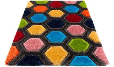 my home Hochflor-Teppich »Bras«, rechteckig, 43 mm Höhe, mit 3D Efeckt, Wohnzimmer kaufen