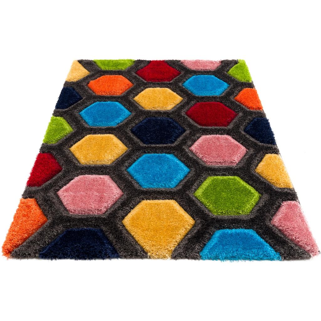 my home Hochflor-Teppich »Bras«, rechteckig, 43 mm Höhe, mit 3D Efeckt, Wohnzimmer