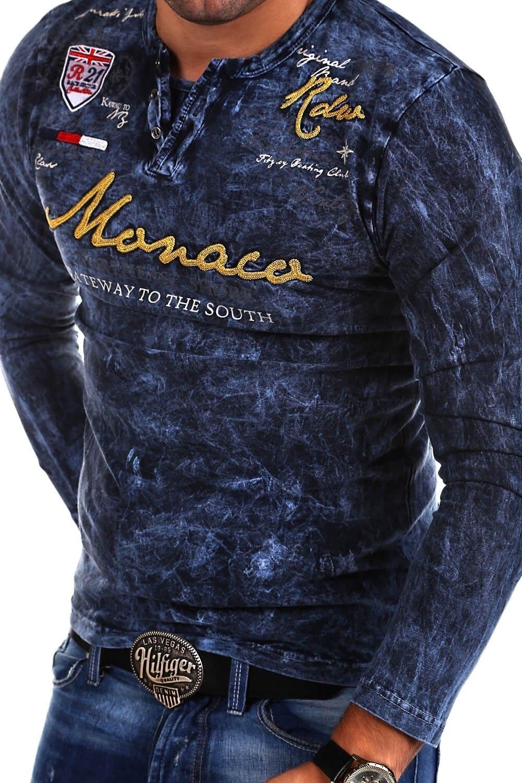 behype -  Langarmshirt MONACO, mit angesagter Vintage-Waschung