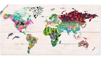 Artland Wandbild »Bunte Welt auf hölzernem Untergrund«, Landkarten, (1 St.), in vielen Größen & Produktarten -Leinwandbild, Poster, Wandaufkleber / Wandtattoo auch für Badezimmer geeignet kaufen