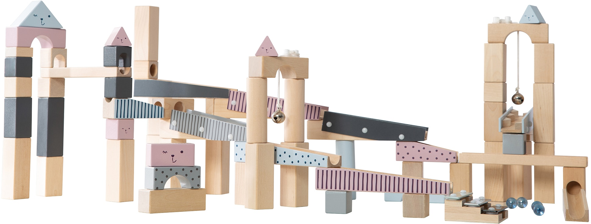 roba Kugelbahn, mit Geräuscheffekten und Glasmurmeln bunt Kinder Bausteine Bausätze Bauen Konstruieren Kugelbahn