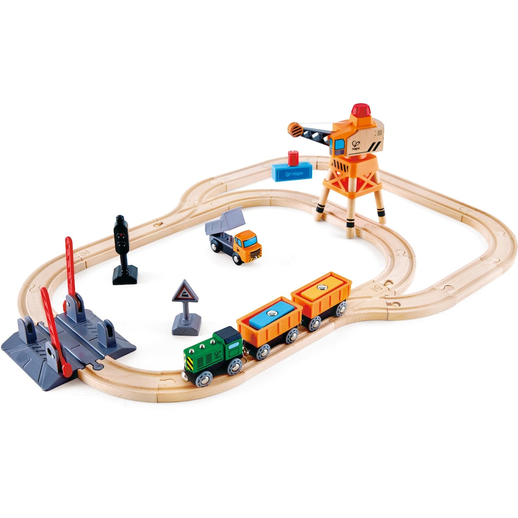 Hape Gleise-Set »Bahnübergang & Kran-Set«, aus Holz