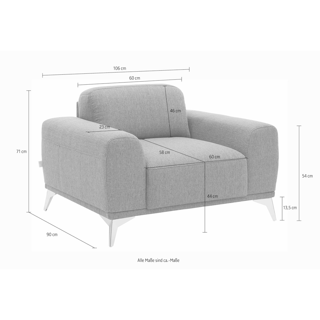 Guido Maria Kretschmer Home&Living Sessel »Tea«, mit Metallfüßen