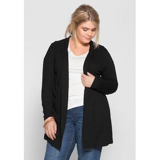 sheego Basic Shirtjacke in schwarz im Online Shop von Baur Versand 0c0b5783b9
