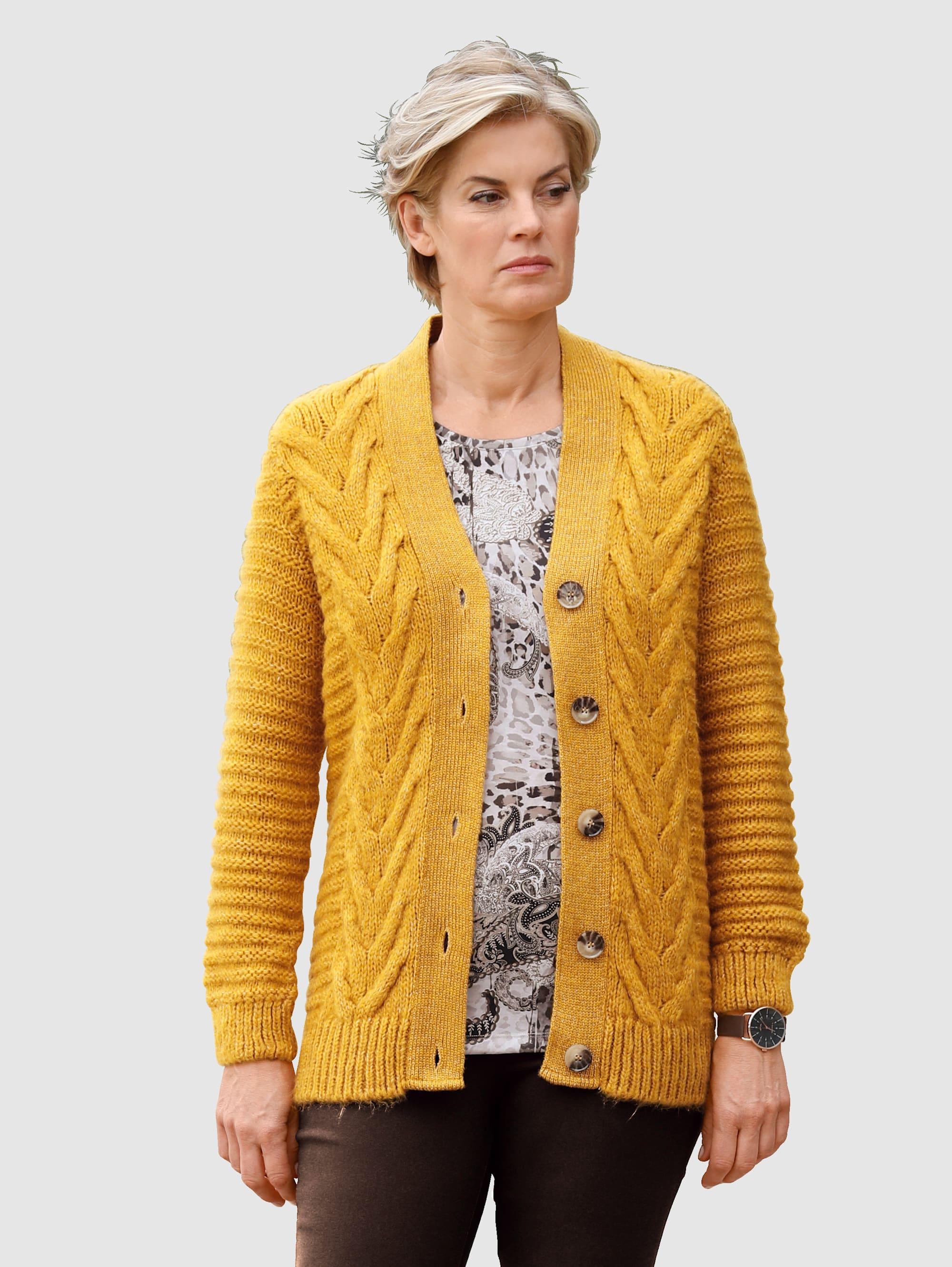 Paola Strickjacke mit schönem Strickmuster gelb Damen Jacquard-Strickjacken Strickjacken