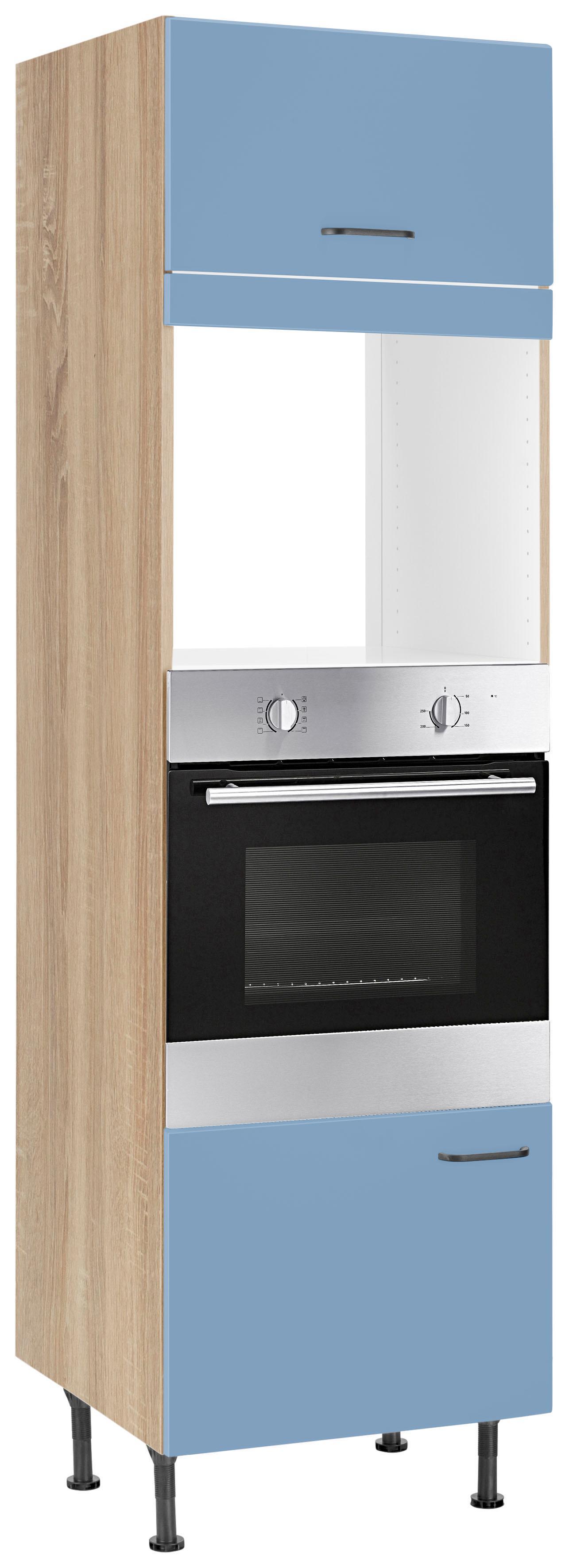 OPTIFIT Backofenumbauschrank Elga geeignet für Einbaumikrowellengerät | Küche und Esszimmer > Küchenschränke > Umbauschränke | Blau | Nachbildung - Eiche - Melamin | Optifit