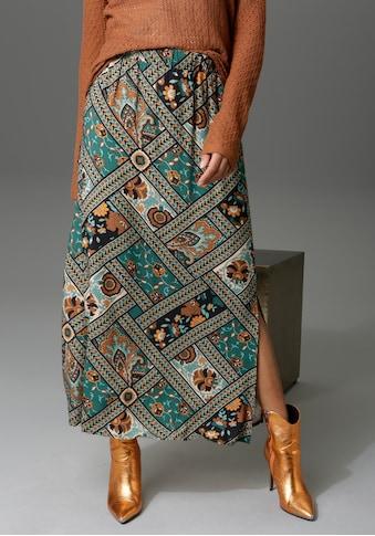 Aniston CASUAL Maxirock, mit Patchdruck - jedes Teil ein Unikat - NEUE KOLLEKTION kaufen