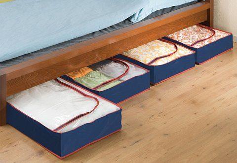 WENKO Unterbettkommode (Set 4 Stück) | Schlafzimmer > Matratzen > Unterbetten | Blau | Wenko