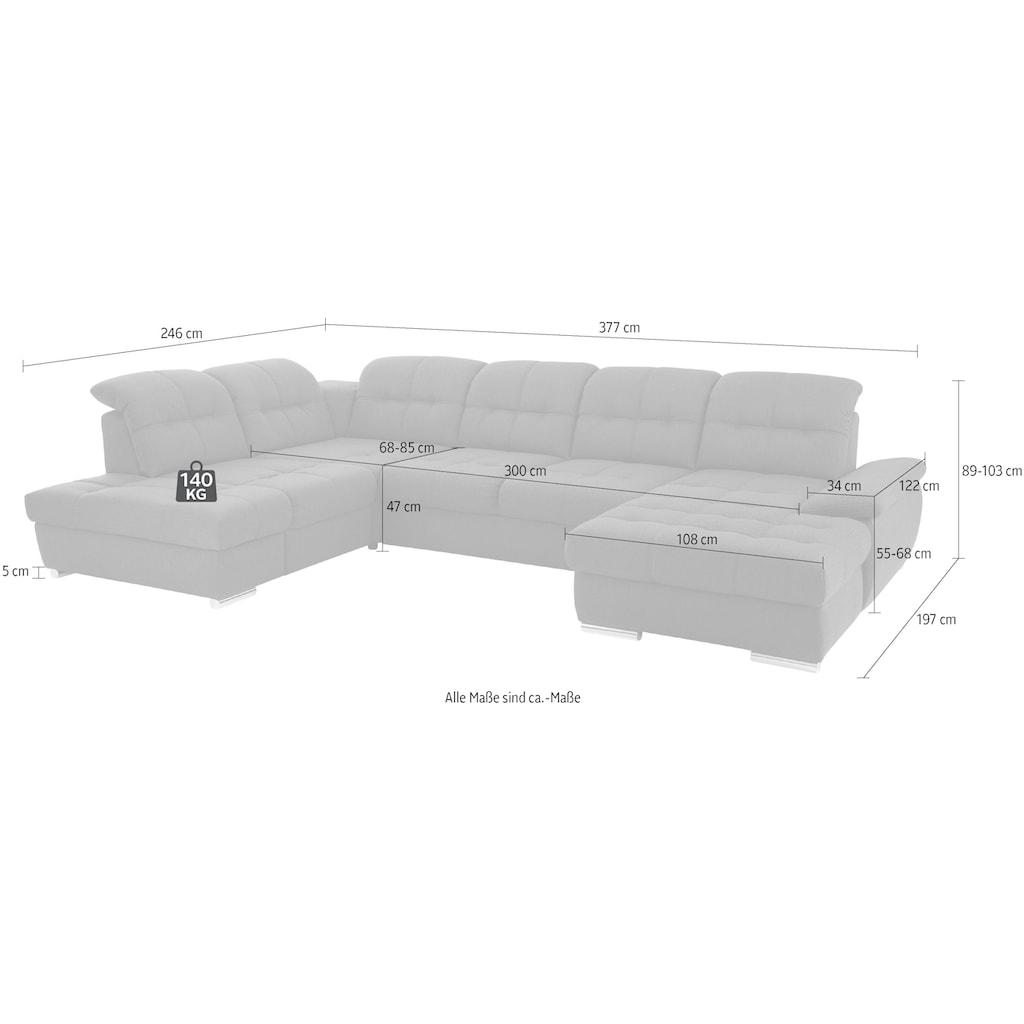 DELAVITA Wohnlandschaft »Lotus Luxus«, in vielen Varianten, incl. 3x Sitztiefenverstellung mit besonders hohem Sitzkomfort, belastbar bis ca. 140kg