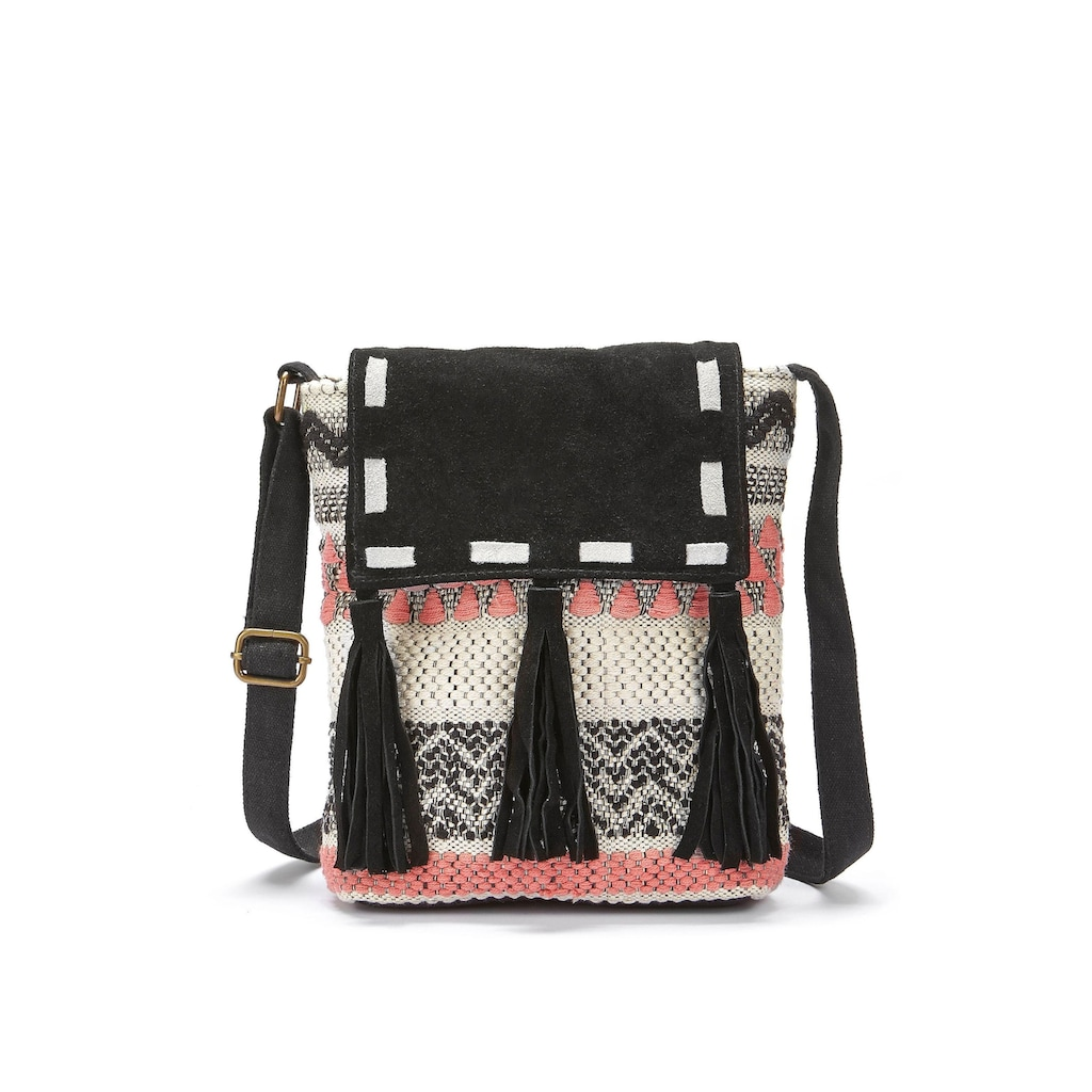 LASCANA Umhängetasche, Strandtasche mit Lederapplikation und im Ethnolook