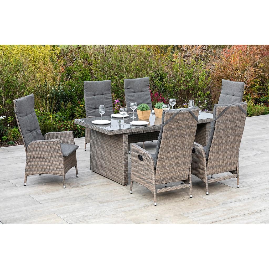 MERXX Gartenmöbelset »Molina«, (7 tlg.), 6 Gartensessel mit Tisch