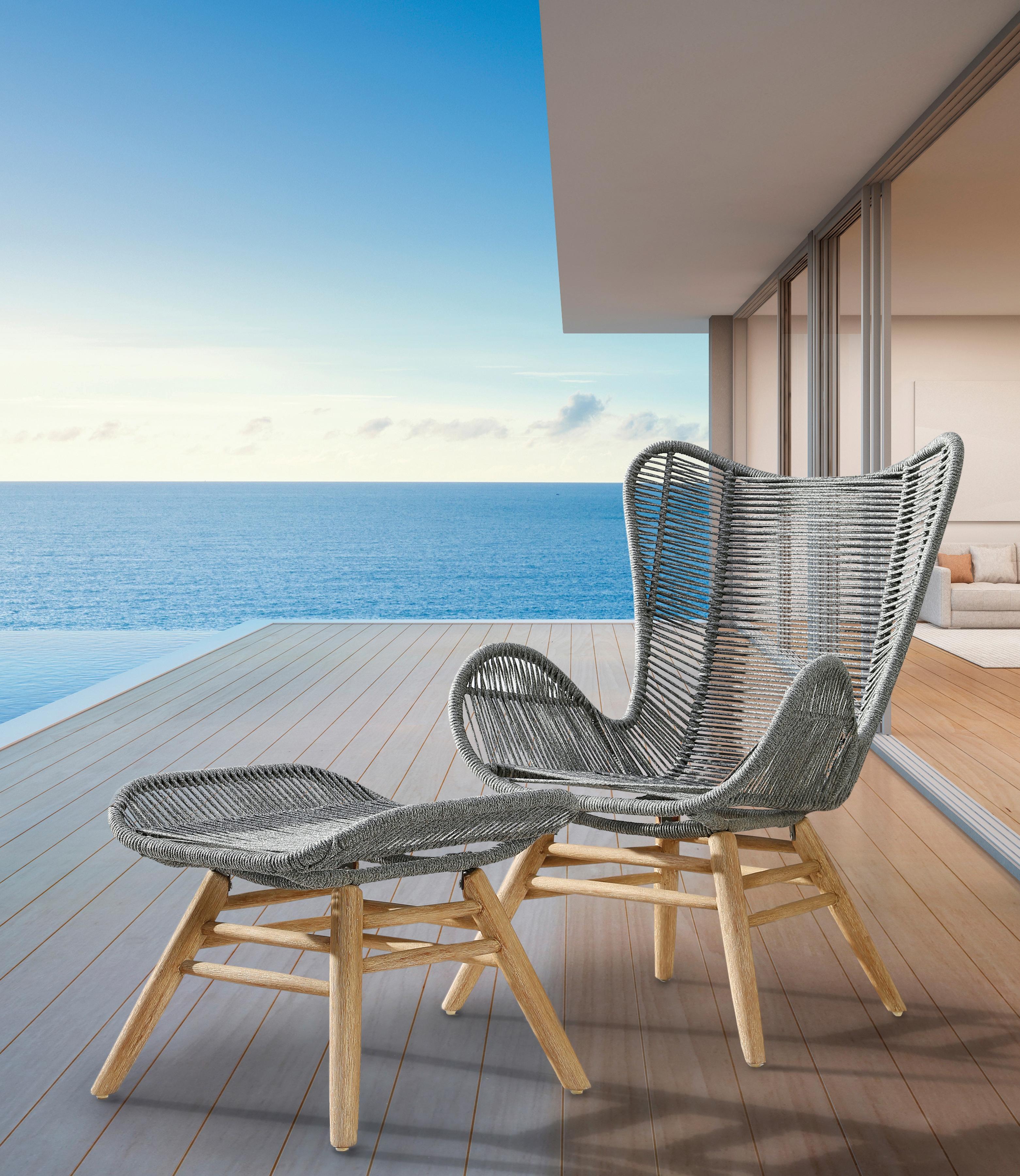 BEST Loungesessel Asmara Eukalyptus/Polyethylen mit Hocker