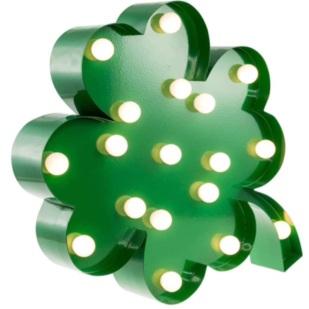 MARQUEE LIGHTS LED Dekolicht »Vierblättriges Kleeblatt«, 1 St., Warmweiß, Wandlampe, Tischlampe 4-Leaf-Clover mit 18 festverbauten LEDs - 31cm Breit und 31cm hoch