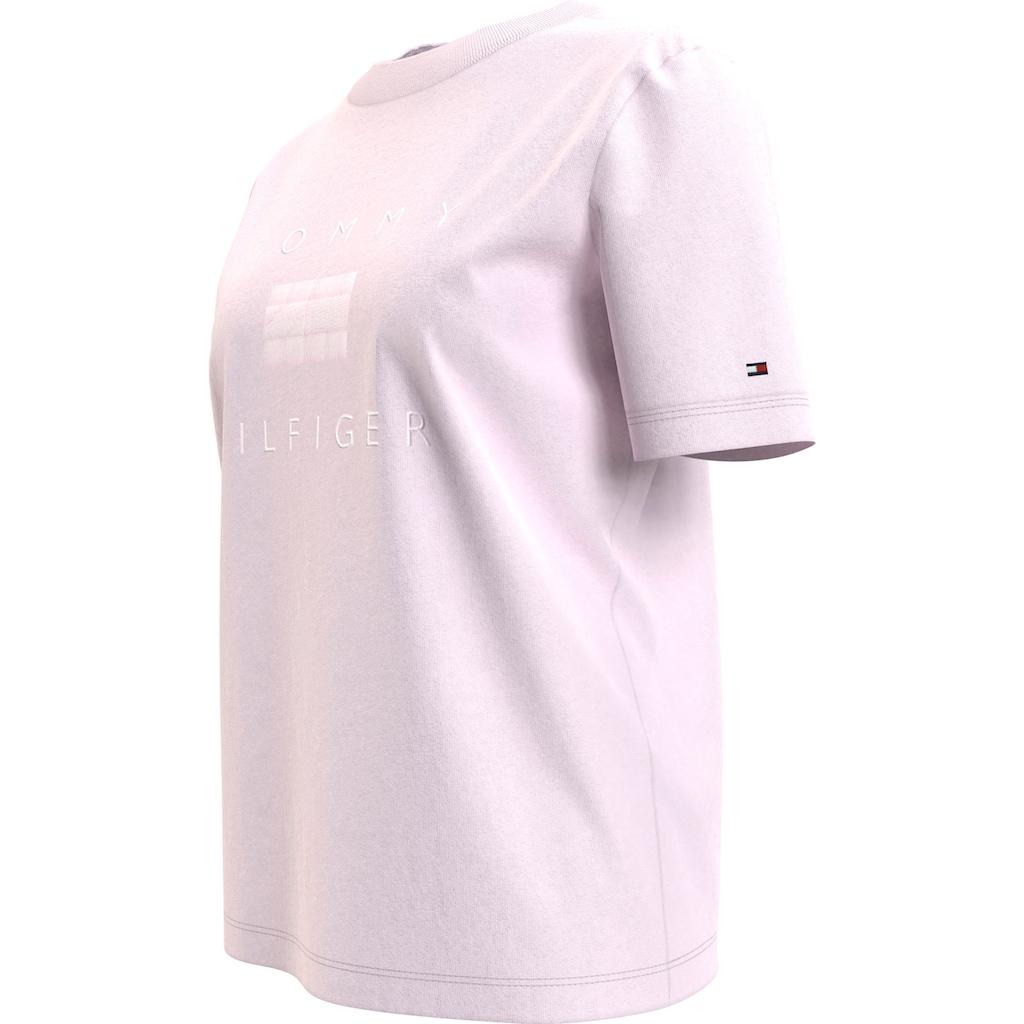 Tommy Hilfiger Rundhalsshirt »RELAXED TONAL C-NK TEE SS«, mit Ton in Ton gesticktem Tommy Hilfiger Logo