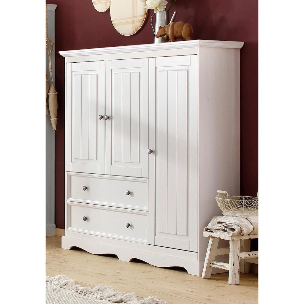 Home affaire Wäscheschrank »Melissa«, aus massiver Kiefer, mit geschwungener Sockelleiste, Breite 138 cm