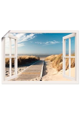 Artland Wandbild »Fensterblick Nordseestrand auf Langeoog«, Fensterblick, (1 St.), in vielen Größen & Produktarten -Leinwandbild, Poster, Wandaufkleber / Wandtattoo auch für Badezimmer geeignet kaufen