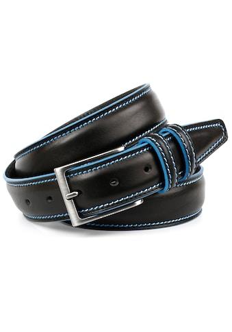 Anthoni Crown Ledergürtel, mit Kontrast Stitching in blau kaufen