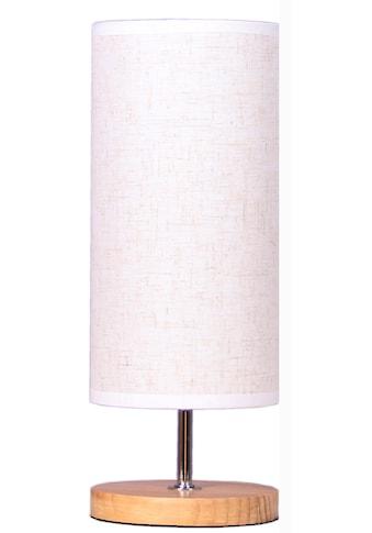 Home affaire Tischleuchte »WOODEN BASE«, E14, Tischlampe mit Holz-Fuß und Stoff-Schirm kaufen