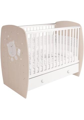 POLINI kids Babybett »French 710 Teddy, weiß-eiche«, mit Bettschubkasten kaufen