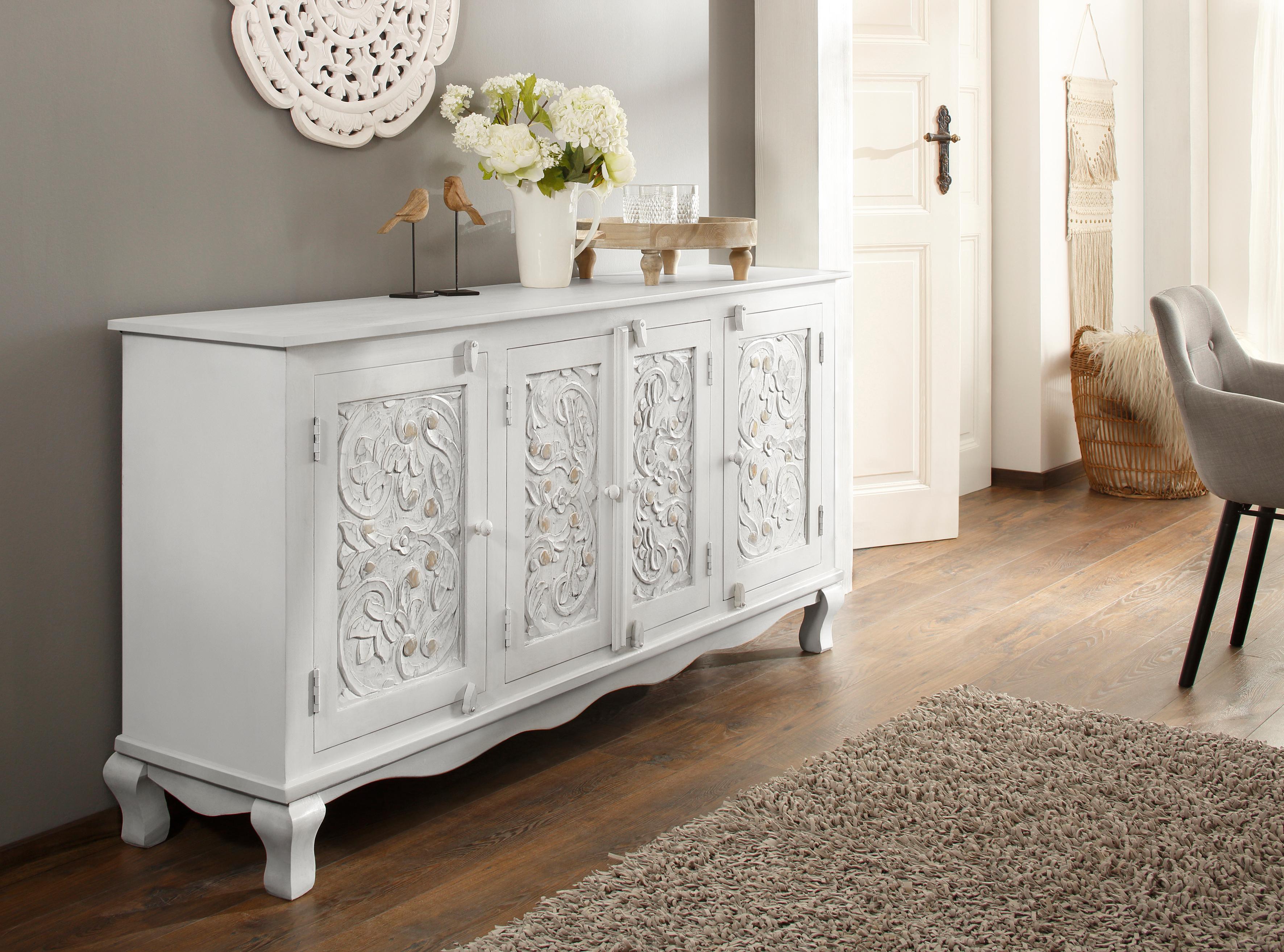 Home affaire Sideboard Rajat aus schönem massivem Mangoholz und beeindruckenden Frontenfräsungen Breite 175 cm