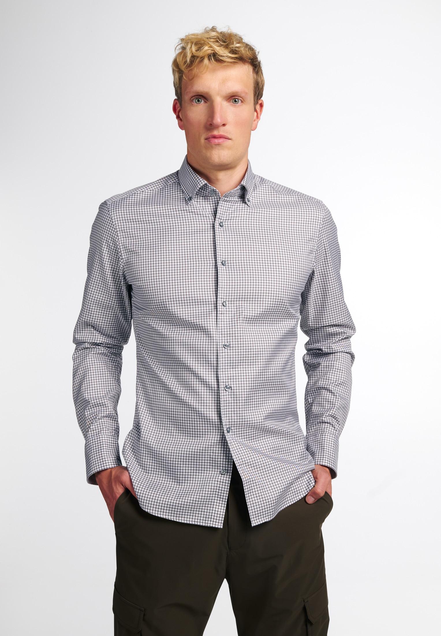 Eterna Businesshemd SLIM FIT, Langarm grau Herren Business Hemden Businessmode