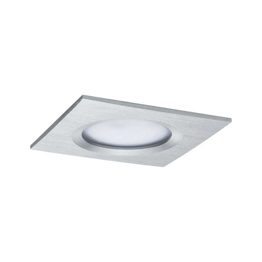 Paulmann LED Einbaustrahler »3er-Set dimmbar Coin Slim IP44 eckig 6,8W Alu«, 3 St., Warmweiß