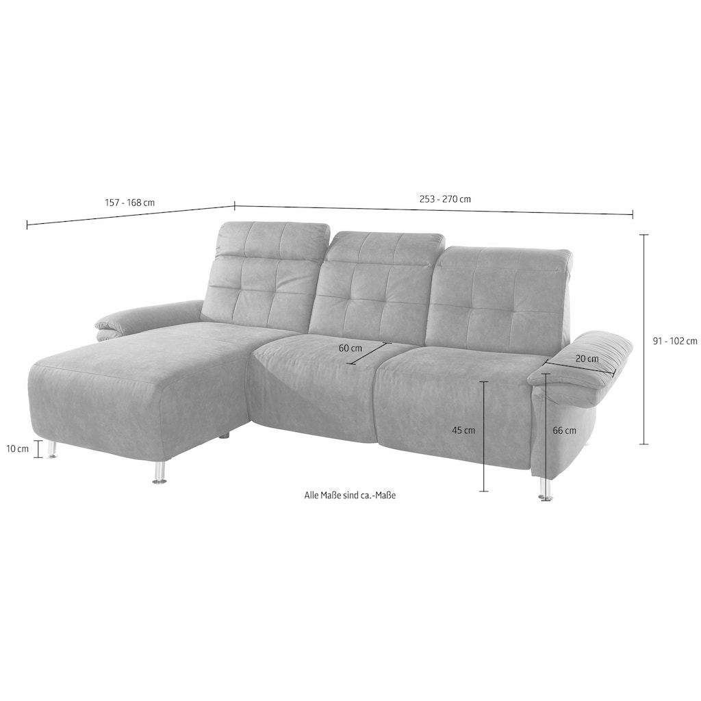 Places of Style Ecksofa »Manhattan«, 2 Sitze mit elektrischer Relaxfunktion, verstellbare Armlehnen