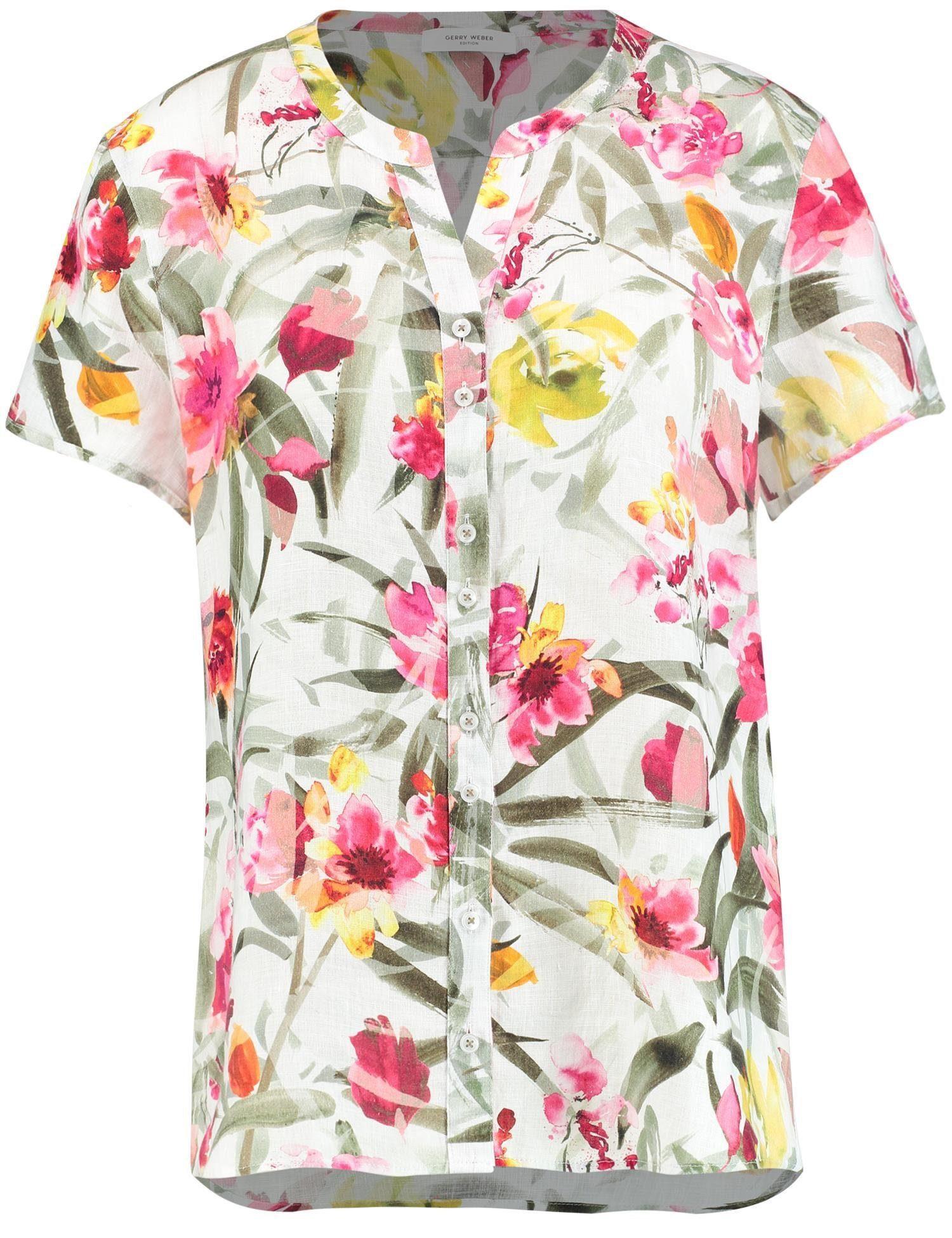GERRY WEBER Bluse 1/2 Arm Kurzarmbluse mit floralem Print