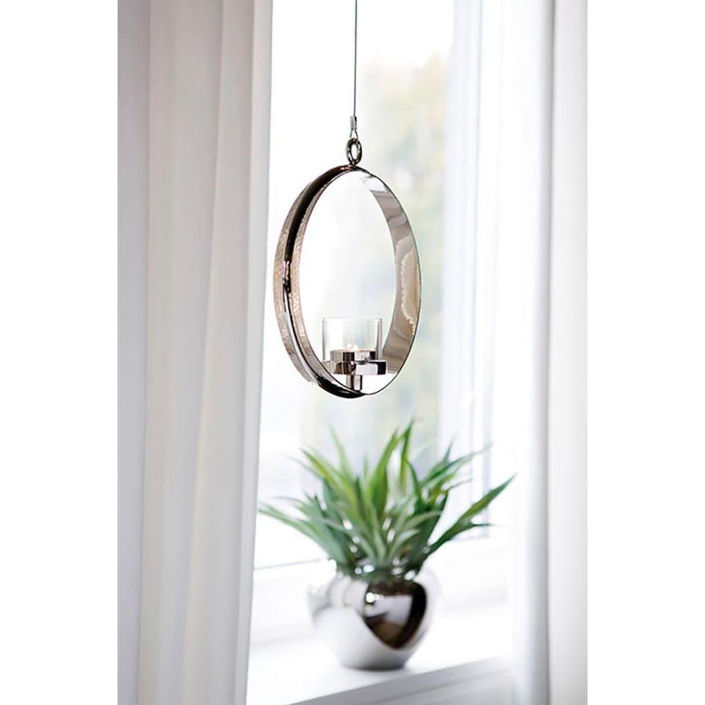 Fink Kerzenhalter »COLETTE, silberfarben«, Hängeleuchter, Teelichthalter, zum Aufhängen, rund, handgefertigt, aus Metall, verschiedene Größen erhältlich, Wohnzimmer