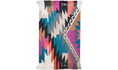 TOM TAILOR Teppich »Funky Kelim«, rechteckig, 6 mm Höhe, handgewebt, mit Fransen,... kaufen