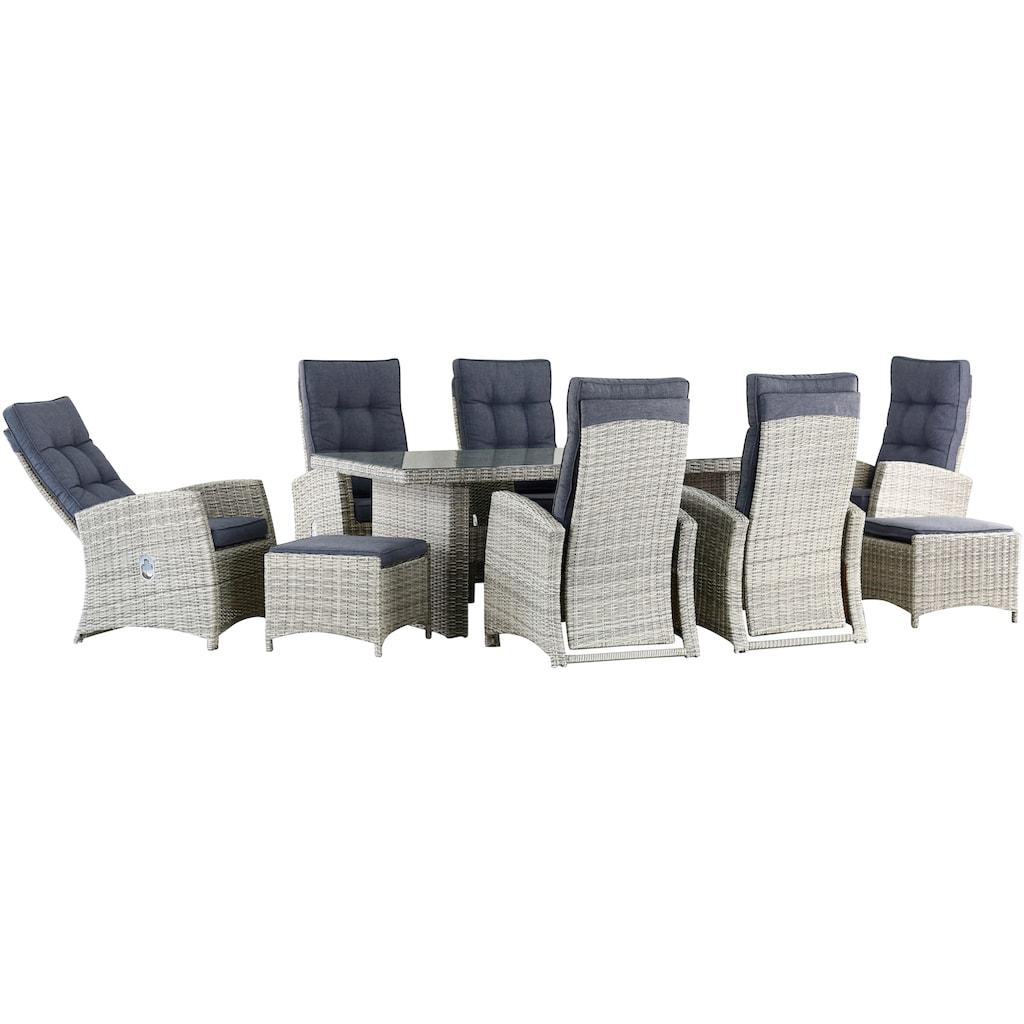KONIFERA Gartenmöbelset »Monaco«, 17-tlg.,6 Sessel, 2 Hocker, Tisch, Polyrattan